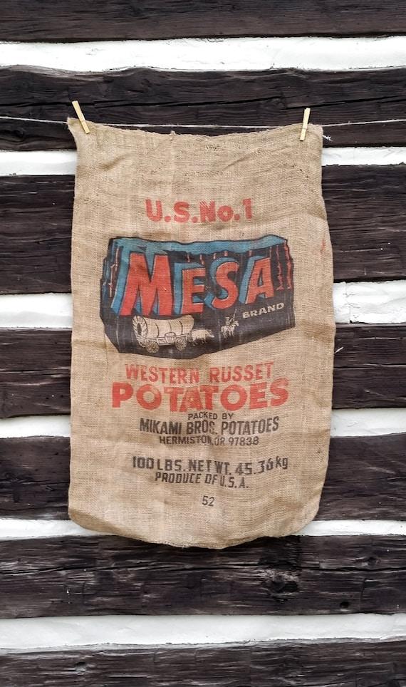 Burlap sack vintage mesa western potato sack cowboy for Burlap sack decor