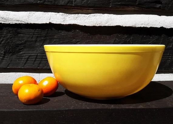 Vintage Pyrex Yellow Bowl Glass Mixing Bowl Mid Century