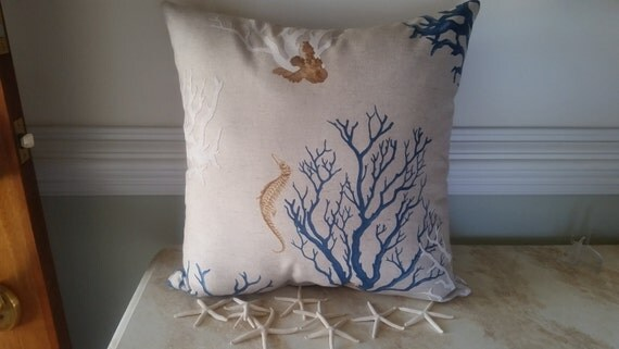 Beach House Coral Sea Fan and Sea Horse Linen Throw Pillow or Pillow Cover - Red or Blue