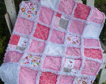 Baby Girl Rag Crib Quilt - Mermaids Narwhals Seahorses Saltwater Ocean Prints in Bright Pink Periwinkle Seafoam Ready to Ship