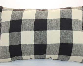 Lumbar Pillow  Checks Plaid Black and Beige Country Style     14 x 9 inches