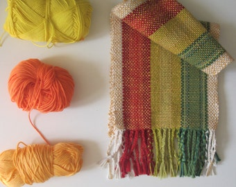 Handwoven Rastafarian Cotton Scarf, size small or Kids size, table runner, altar