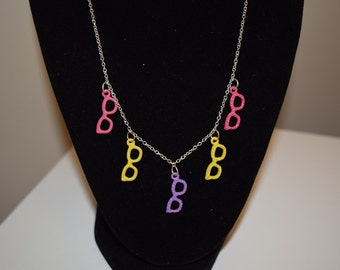 Multicolor glasses charm necklace with matching earrings set