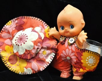 """Vintage Kewpie Doll/Nostalgic 60s 70s/Barware Shot Glass Holder Mancave OOAK/Includes 2 Street Sign Glasses/Toy 8"""" Movable head+arms+legs"""