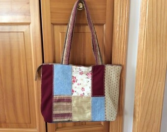 Fabric Scraps tote bag- recycled Bag /quilted bag-fabric bag