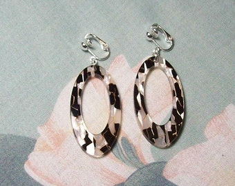 Large Black and White Acrylic Oval Silver Earrings Clip on or Pierced