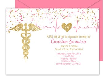 Nursing Graduation Invitation, RN, BSN, LVN, Pink and Gold, Personalized with your info- Printed or Digital