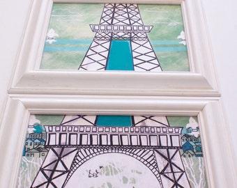 Eiffel Tower Framed Paris Triptych  Art Beach Decor Beach Kids Room Beach Baby Nursery Whale Baby Nursery Christina Rowe Beach Art Mangoseed