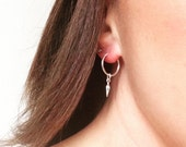 Silver hoops, dangle earrings, silver point hoops