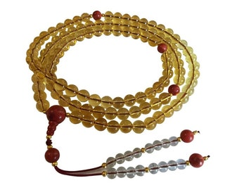 Tibetan Mala Citrine 108 Mala with Coral Sunrise Guru Bead and Spacers for Meditation
