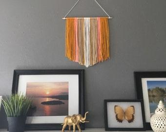 Sunset mix yarn art banner | pendant shape banner | mustard, peach, tan & cream combo | boho chic
