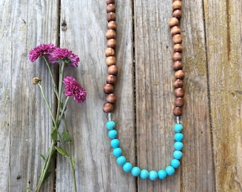 Wood & blue howlite long beaded necklace | hand strung | free gift wrapping