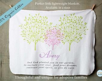 Personalized Baby Blanket, Adoption blankets, 100% ORGANIC Cotton, Swaddling blanket, Customized Blanket, Newborn Gift, adoptive Family Gift