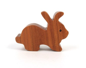 Miniature Easter Bunny Rabbit Wood Toy Easter Decoration Waldorf Wood Rabbit Wooden Animal Cherry