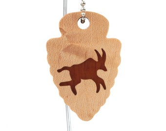 Southwest Keychain, Petroglyph Deer Key Ring, Arrowhead Key Fob, Cave Art Key Chain, Wood Scroll Saw Key Chain, Mahogany