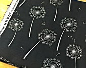 Fabric Destash, Fabric Remnant, Upholstery Fabric, Black and White Fabric, Fabric Scraps, Dandelion Fabric, Home Decor Fabric
