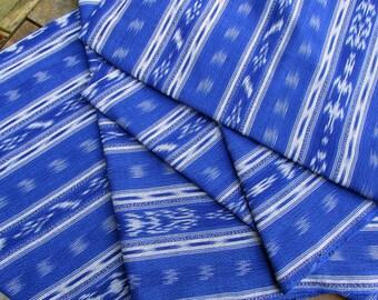 Guatemalan Ikat Fabric in Watercolor Blue