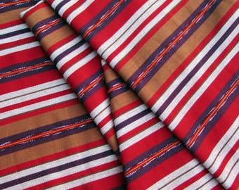 Guatemalan Fabric in Brown, Red, and Purple Stripes