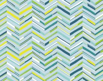 Sundaland Jungle - Tenun Chevron in Blue by Katy Tanis for Blend Fabrics