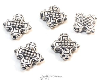 Cross Beads, Antique Silver Crosses, Bulk Metal Bead Findings, Decorative Beads, Pewter Beads, 12mm, 1mm Hole, Lot Size 8 to 30, #1335