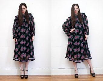 Vintage Indian Cotton Indian Gauze Boho Dress Hippie Dress Ethnic Floral Gauze Cotton Dress 70s