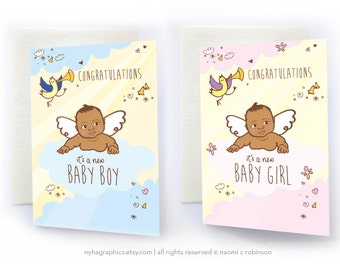 African American Baby, New Baby Card, Congratulations, Baby Girl, Baby Boy, Announcement Card, Baby Shower Card, Asian Baby, Black Baby