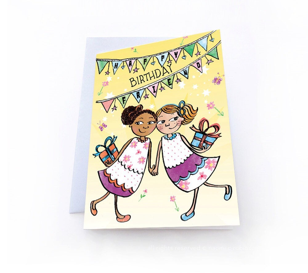 Happy Birthday Best Friend BFF Greeting Card Multicultural