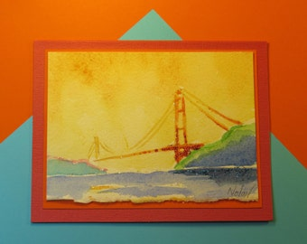 GOLDEN GATE BRIDGE Note Card, Original Handmade Watercolor (Blank Inside)