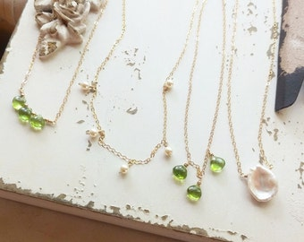 Choose your necklace! Peridot Necklace, Keshi Pearl Necklace, Gemstone Jewelry, Pearl Necklace, Gemstone Necklace, Dainty Summer Jewelry