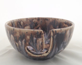 Ceramic Yarn Bowl - Pottery Knitting Yarn Holder - Brown Black White