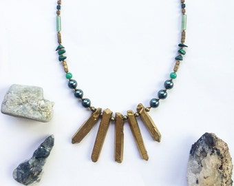 Lila Necklace - with Quartz crystal for clarity, power, energy, Hematite for courage, Malachite to rid negativity OOAK