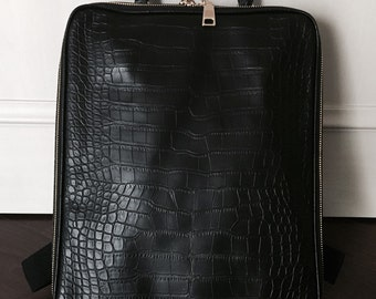 Crocodile Pattern Faux Leather Backpack - Black