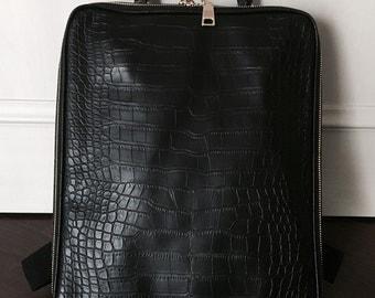 Crocodile Pattern Faux Leather Backpack - Black