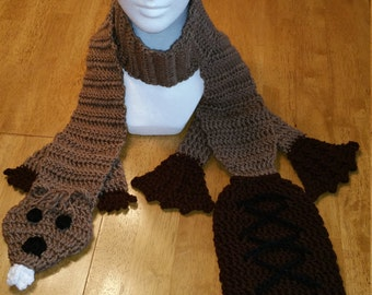 Beaver scarf - crocheted