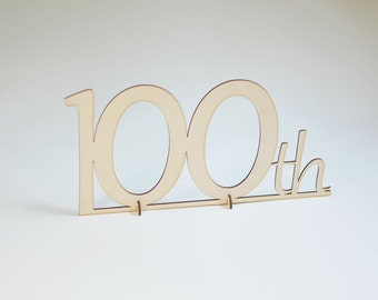 Natural Wood Script 100th Stand Up Number Table Sign