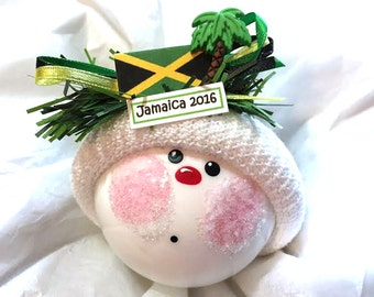JAMAICAN SOUVENIR Christmas Ornaments 2017 Jamaican Flag Palm Tree Hand Painted Handmade Personalized Themed Townsend Custom Gifts - F