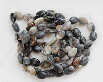 Silver Leaf Jasper smooth oval  beads  (14x10mm)  full strand (15.5 inches), earth tone colors