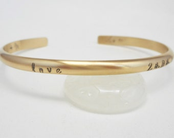 Personalized Cuff Rounded & Smooth Gold Fill Bracelet Personalize with Up to 60 Characters Choose Polished or Matte Finish Hand Forged Cuff