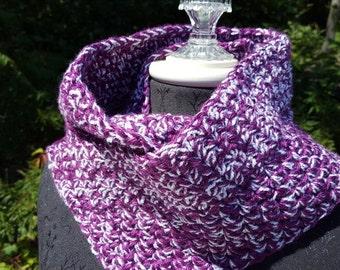 Magenta plum sparkle hand crocheted infinity scarf wrap