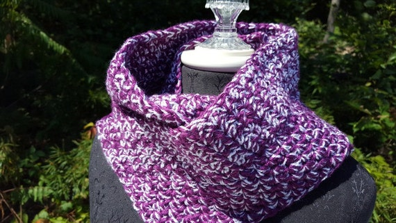 Magenta plum sparkle hand crocheted infinity scarf wrap