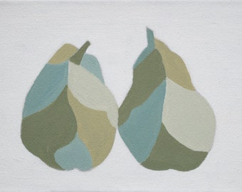 Two pears, original oil painting, still life