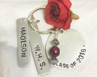 Graduation key chain, Graduate's name, class of 2016, and school name, personalized hand stamped, gift for graduate