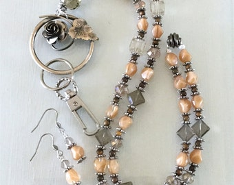 Beige and Brown Glass and Crystal Rose Lanyard