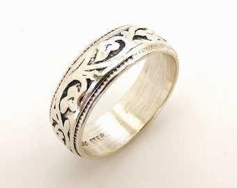 Vintage sterling silver art nouveau style wedding band ring