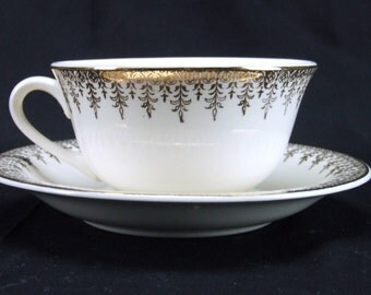 W S George Derwood Cup Saucer Set 22k Gold Trim USA 1930s
