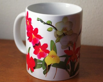 Celebration of orchids 11 oz ceramic mug, bright yellow, red and orange tropical flowers, floral coffee mug, tea cup, gift 1269