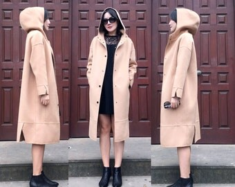 Easy to Wear Double Sided Wool-cashmere Cocoon Long Jacket/ Big Hoodie Winter Coat /18 Colors / RAMIES