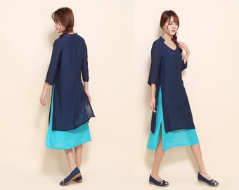 V- Neckline Silk Linen Blend Two Layered Dress/ More Color Schemes/ RAMIES