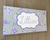 large personalized nursery art- Hand-painted -  purple lavender grey floral - custom sizes and colors available