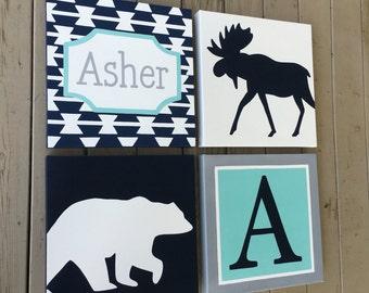 large nursery painitng- 4 canvas piece- M2M decor- tribal navy aqua grey- bear moose- custom sizes and colors available